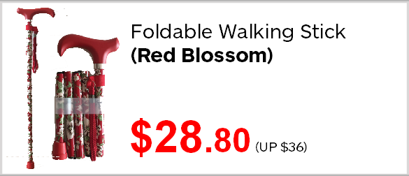 Assisted Living Foldable Walking Stick Red Blossom