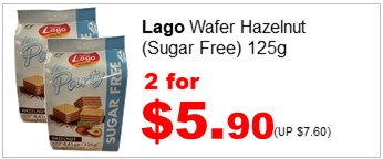 Lago Sugarfree Wafer Hazelnut 125g 2for590