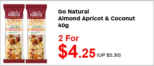 Go Natural almond n apricot bar 40g 2for425