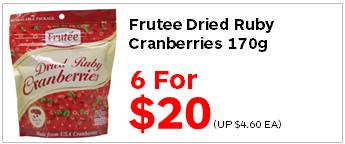 Frutee Dried Ruby Cranberries 170g 6for20