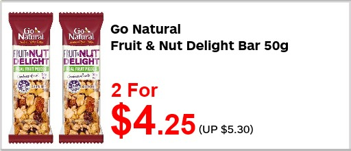 Go Natural fruit n nut bar 50g 2for425