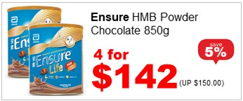 ENSURE LIFE HMB POWDER CHOCOLATE 850G 4for142