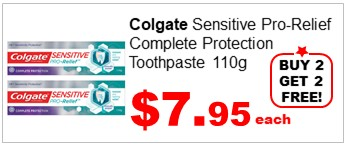 COLGATE SENSITIVE PRO-RELIEF COMPLETE PROTECTION TOOTHPASTE 110G buy2get2free