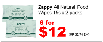 ZAPPY ALL NATURAL FOOD WIPES 15SX2 6for12