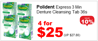 POLIDENT CLEANSER TABS EXPRESS 3MINS 36S 4for25