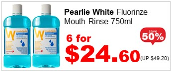 PEARLIE W FLOURINZE ALCOHOL FREE MOUTHRINSE 750ML 6for2460