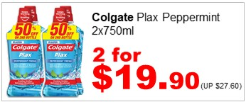 COLGATE PLAX PEPPERMINT 750MLx2 2for1990