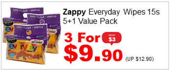 ZAPPY EVERYDAY WIPES 15S 5n1 VALUE PACK 3for990