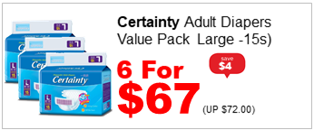 CERTAINTY ADULT DIAPERS VALUE PACK LARGE 15S 6for67