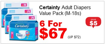 CERTAINTY ADULT DIAPERS VALUE PACK MEDIUM 18S 6for67