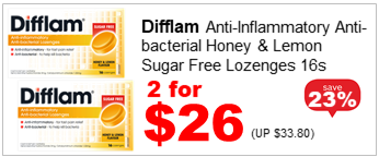 DIFFLAM ANTI-BACTERIAL LOZENGE HONEY & LEMON 16S 2for26