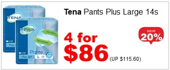 TENA PLUS PANTS LARGE 14S 4for86