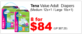 TENA VALUE ADULT DIAPER L10S M12S n 1 FREE 8for84