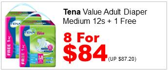 TENA VALUE ADULT DIAPER M 12S n 1FREE 8for84