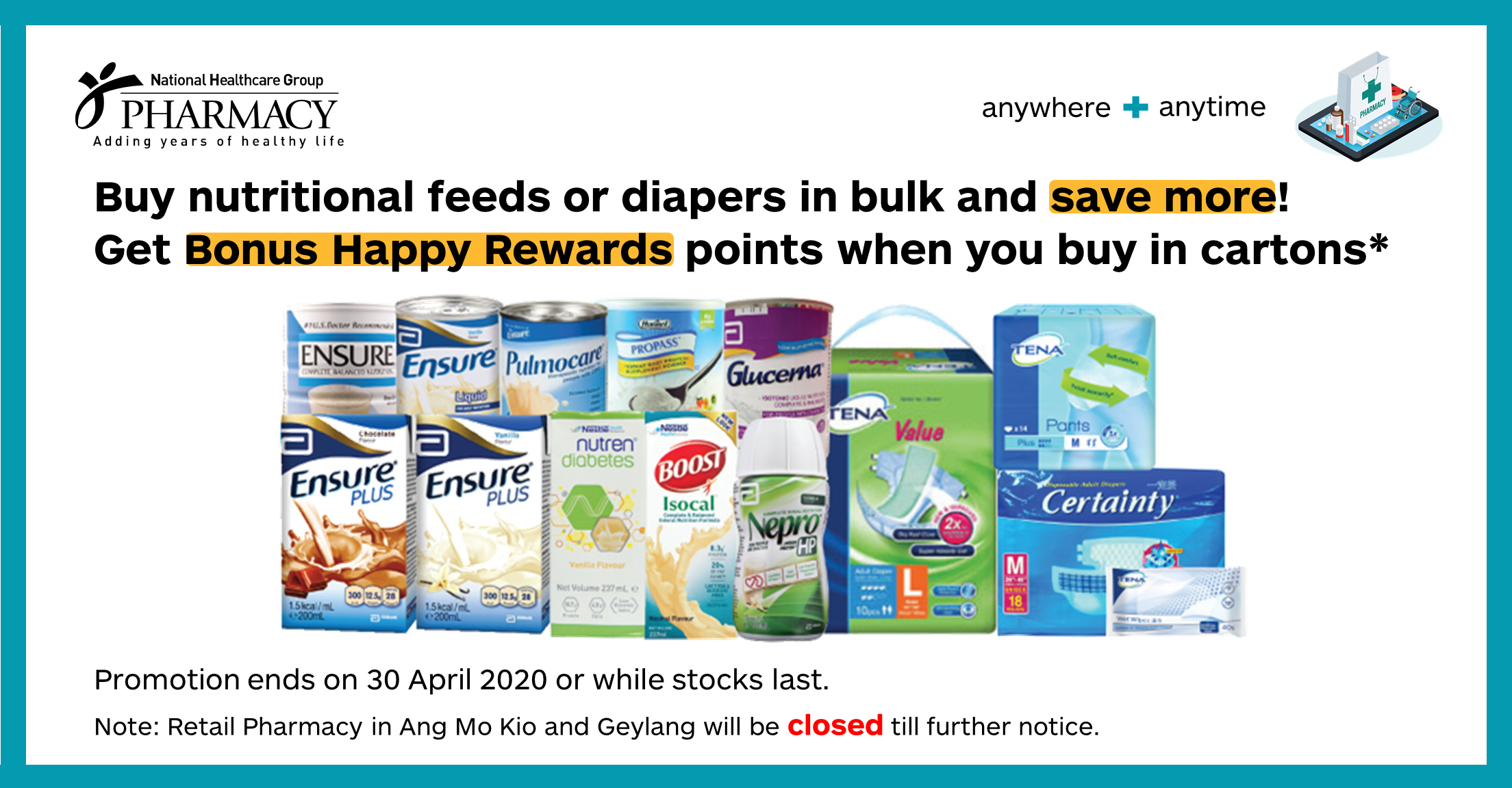 Buy nutritional feeds or diapers in bulk and save more!
